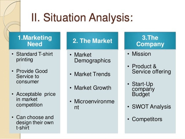 service description and situational analysis Use a situational analysis with a swot profile to structure your strategic marketing plan and help your small business determine its effectiveness.