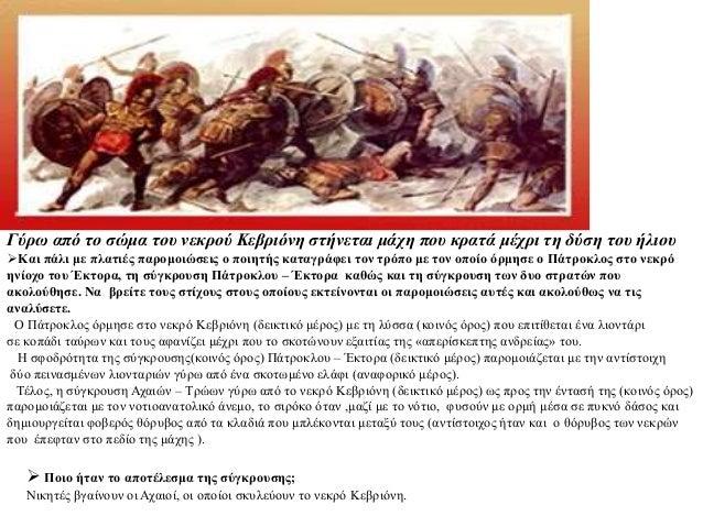 Γύρω από το σώμα του νεκρού Κεβριόνη στήνεται μάχη που κρατά μέχρι τη δύση του ήλιου Και πάλι με πλατιές παρομοιώσεις ο π...