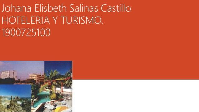 Johana Elisbeth Salinas Castillo HOTELERIA Y TURISMO. 1900725100