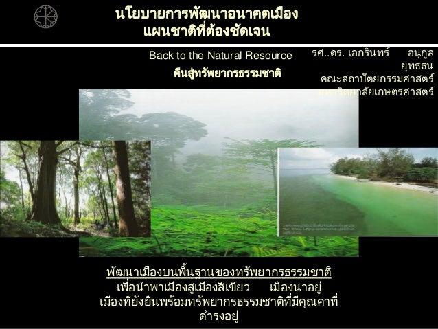 Back to the Natural Resource นโยบายการพัฒนาอนาคตเมือง แผนชาติที่ต้องชัดเจน คืนสู่ทรัพยากรธรรมชาติ พัฒนาเมืองบนพื้นฐานของทร...