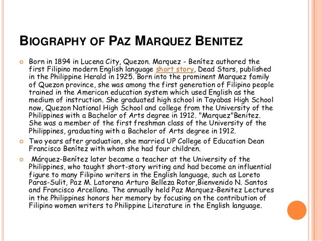 dead star paz marquez benitez essay Dead stars , published in th the annually held paz marquez-benitez lectures in the philippines honors is this the perfect essay for you save time and.