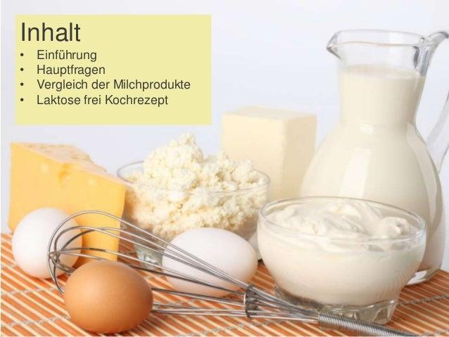 Inhalt • Einführung • Hauptfragen • Vergleich der Milchprodukte • Laktose frei Kochrezept