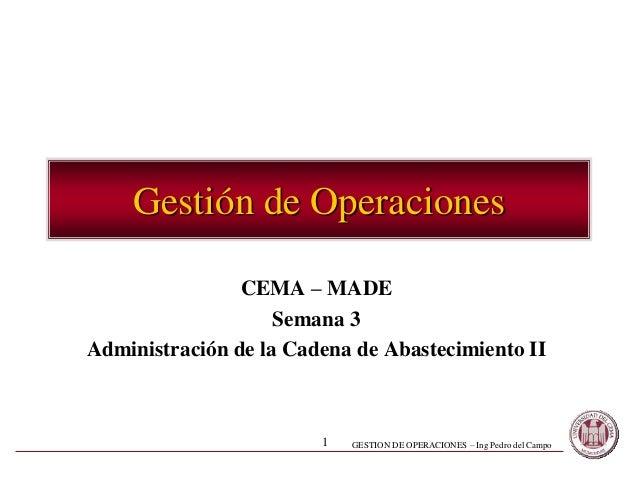 GESTION DE OPERACIONES – Ing Pedro del Campo1 Gestión de Operaciones CEMA – MADE Semana 3 Administración de la Cadena de A...