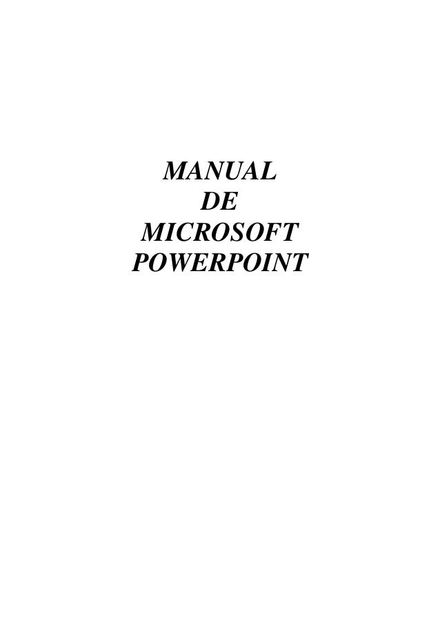 MANUAL DE MICROSOFT POWERPOINT