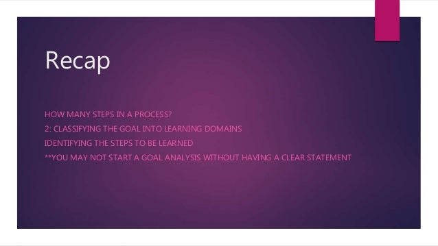 Recap HOW MANY STEPS IN A PROCESS? 2: CLASSIFYING THE GOAL INTO LEARNING DOMAINS IDENTIFYING THE STEPS TO BE LEARNED **YOU...