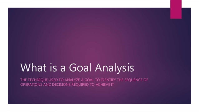 What is a Goal Analysis THE TECHNIQUE USED TO ANALYZE A GOAL TO IDENTIFY THE SEQUENCE OF OPERATIONS AND DECISIONS REQUIRED...