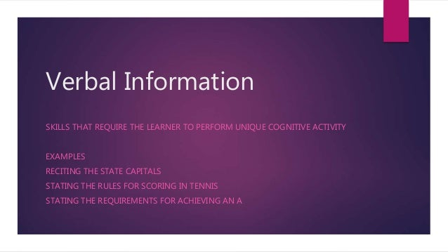 Verbal Information SKILLS THAT REQUIRE THE LEARNER TO PERFORM UNIQUE COGNITIVE ACTIVITY EXAMPLES RECITING THE STATE CAPITA...