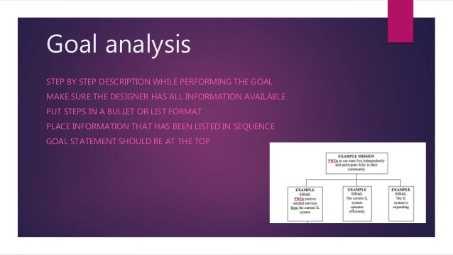 Goal analysis STEP BY STEP DESCRIPTION WHILE PERFORMING THE GOAL MAKE SURE THE DESIGNER HAS ALL INFORMATION AVAILABLE PUT ...