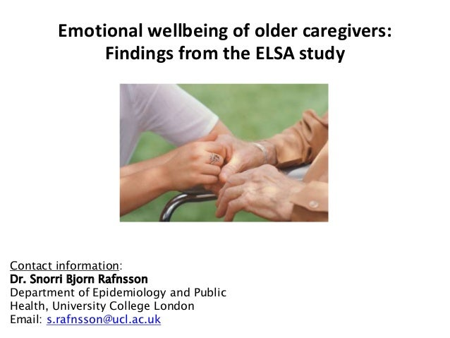 Methods • ELSA Study sample – 3007 men and 3564 women aged 50 years and older • Data collection – Baseline in 2004/5 (Wave...