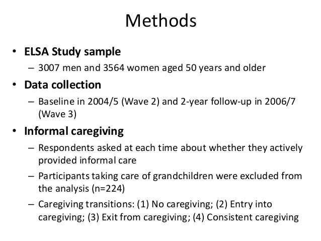 Carers versus non-carers at Wave 2 Characteristics Carers (n=954)† Non-carers (n=7548) Age, % 50-59 37.5% 28.2% 60-69 35.4...