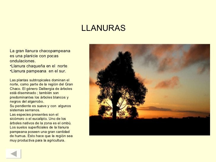 LLANURAS <ul><li>La gran llanura chacopampeana es una planicie con pocas ondulaciones.   </li></ul><ul><li>Llanura chaqueñ...