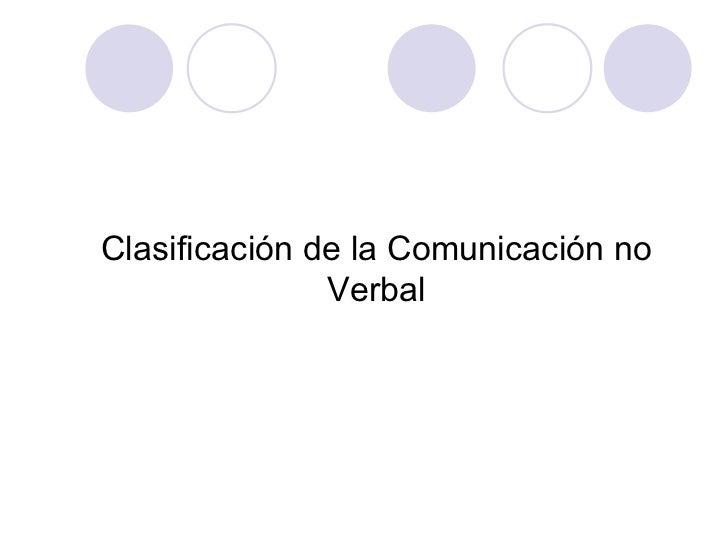 Clasificación de la Comunicación no Verbal