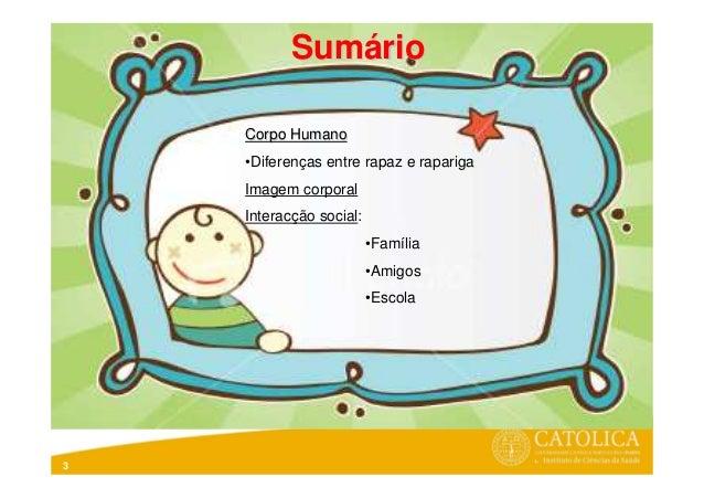 3Corpo HumanoCorpo Humano•Diferenças entre rapaz e raparigaImagem corporalInteracção social:•Família•Amigos•EscolaSumSumáá...