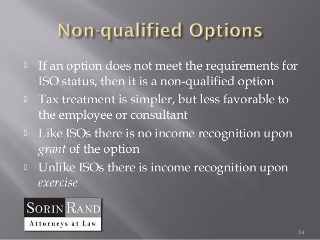 Qualified versus non qualified stock options