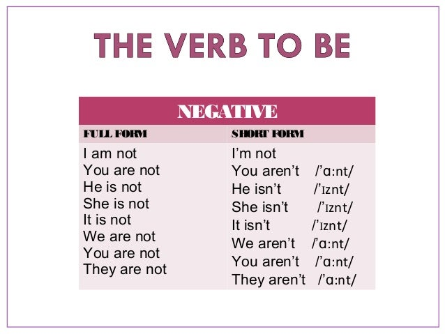 NB1 - The verb 'to be'