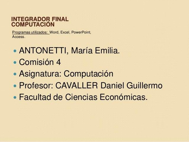 Integrador final- Computación