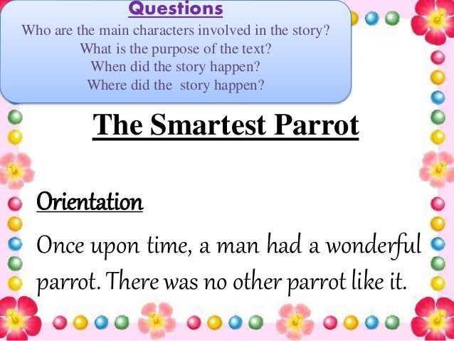 how to write a narrative orientation
