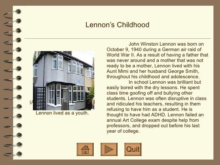 Life of John Lennon Slide 3