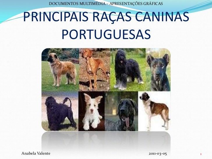 PRINCIPAIS RAÇAS CANINASPORTUGUESAS<br />DOCUMENTOS MULTIMÉDIA – APRESENTAÇÕES GRÁFICAS<br />Anabela Valente  2011-03...