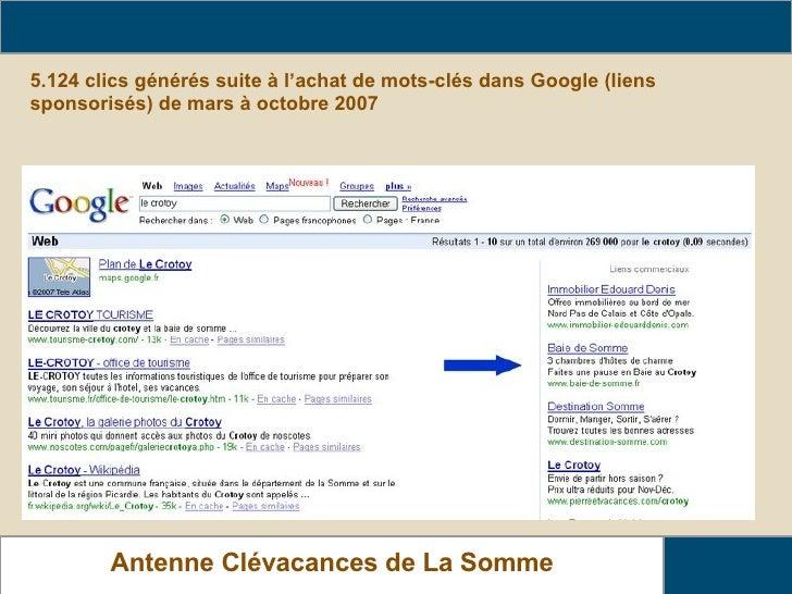 5.124 clics générés suite à l'achat de mots-clés dans Google (liens sponsorisés) de mars à octobre 2007 Relais Gîtes de Fr...