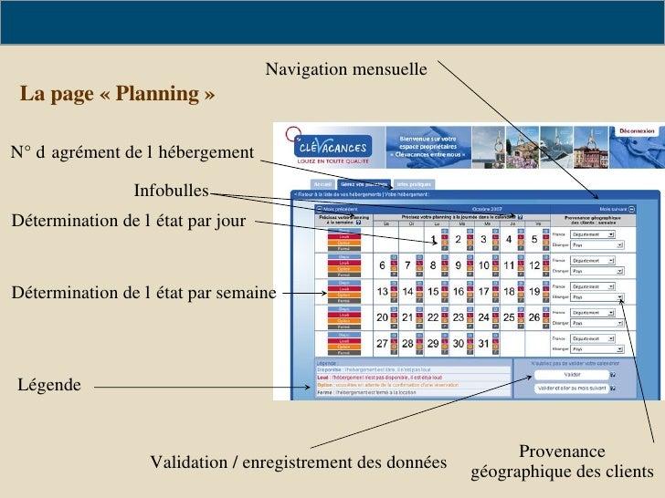 La page «Planning» N° d'agrément de l'hébergement Légende Détermination de l'état par jour Détermination de l'état par s...