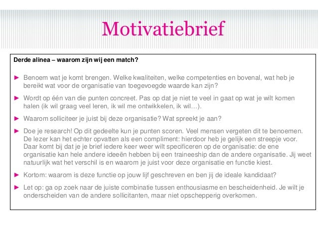 motivatiebrief traineeship Sollicitatie bootcamp motivatiebrief traineeship