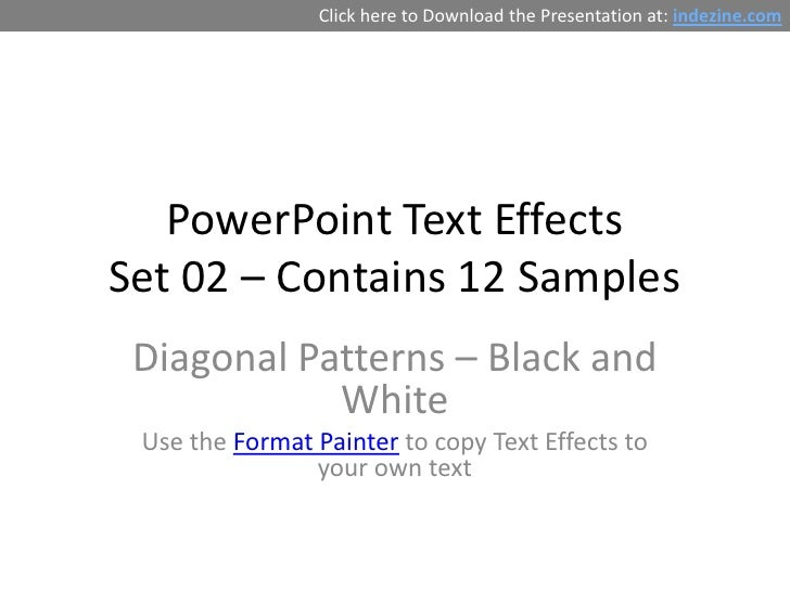 PowerPoint Text Effects - Diagonal Patterns (Black and White)