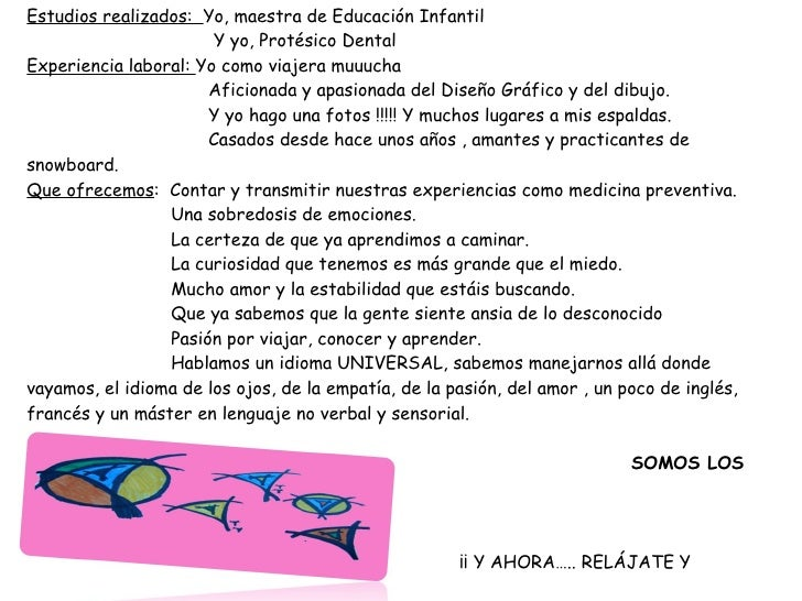 ESTE ES EL CURRICULUM DE ESTHER Y LUCHY Estudios realizados:  Yo, maestra de Educación Infantil    Y yo, Protésico Denta...