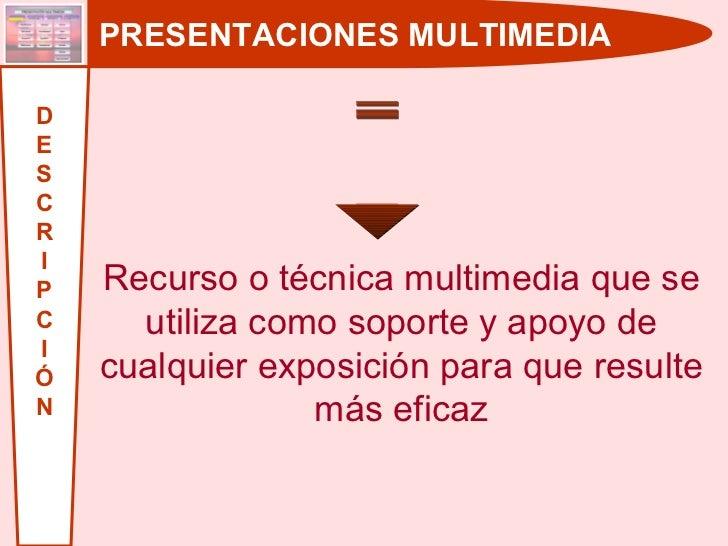 PRESENTACIONES MULTIMEDIA D E S C R I P C I Ó N Recurso o técnica multimedia que se utiliza como soporte y apoyo de cualqu...