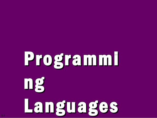 9.1 ProgrammiProgrammi ngng LanguagesLanguages
