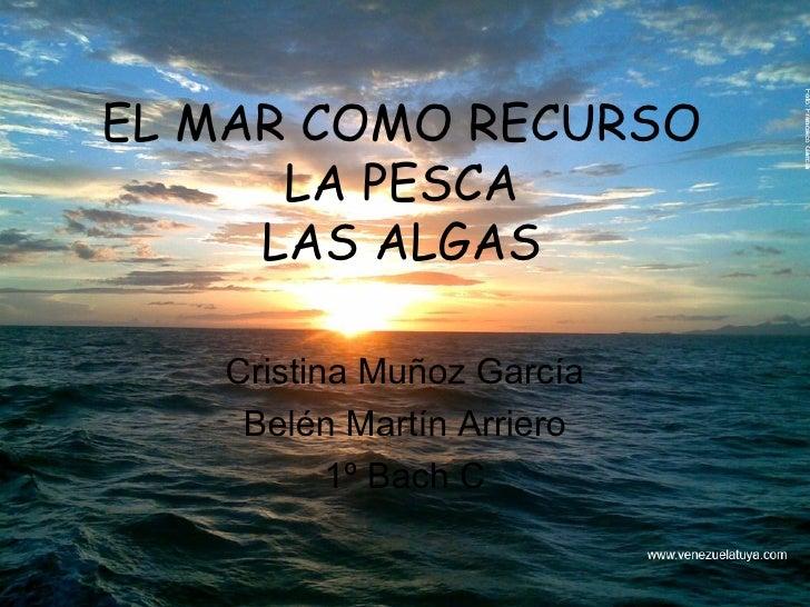 EL MAR COMO RECURSO LA PESCA LAS ALGAS Cristina Muñoz García Belén Martín Arriero 1º Bach C