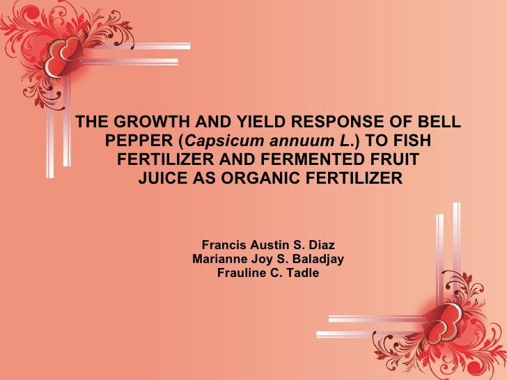 THE GROWTH AND YIELD RESPONSE OF BELL PEPPER ( Capsicum annuum L .)   TO FISH FERTILIZER AND FERMENTED FRUIT  JUICE AS ORG...