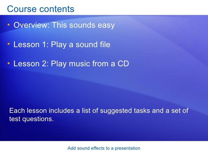 Power Point 2007  Add Sound Effects To A Presentation Slide 2