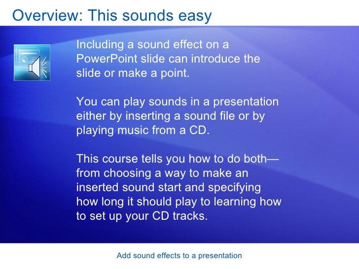 Power Point 2007  Add Sound Effects To A Presentation Slide 3