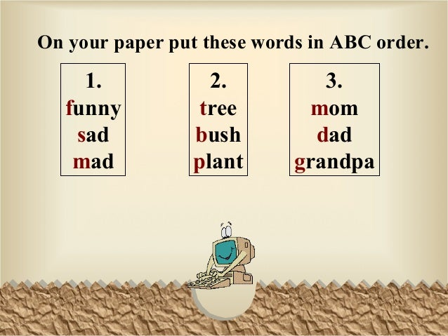 powerpoint 20 abc order
