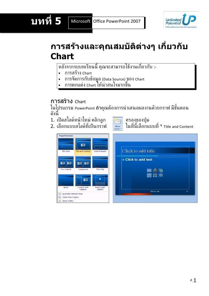 บทที่ 5       Microsoft Office Word 2007 2007                         Office PowerPoint         การสร้างและคุณสมบัติต่างๆ ...