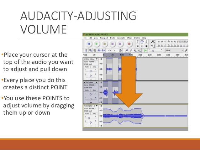 audacity how to make selected piece of audio volume down