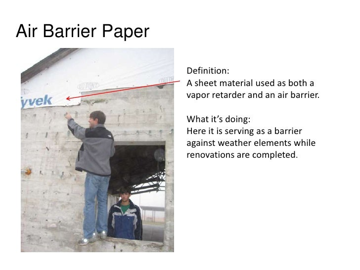 Air Barrier Paper<br />Definition: <br />A sheet material used as both a vapor retarder and an air barrier. <br />What it'...