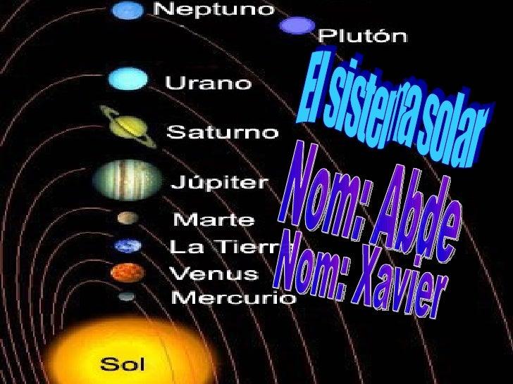 El sistema solar Nom: Abde Nom: Xavier