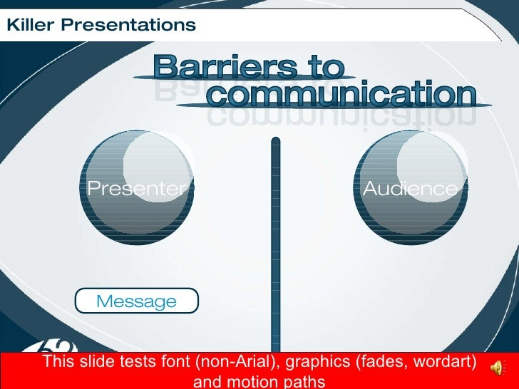 Killer Presentations Message This slide tests font (non-Arial), graphics (fades, wordart) and motion paths Presenter Audie...