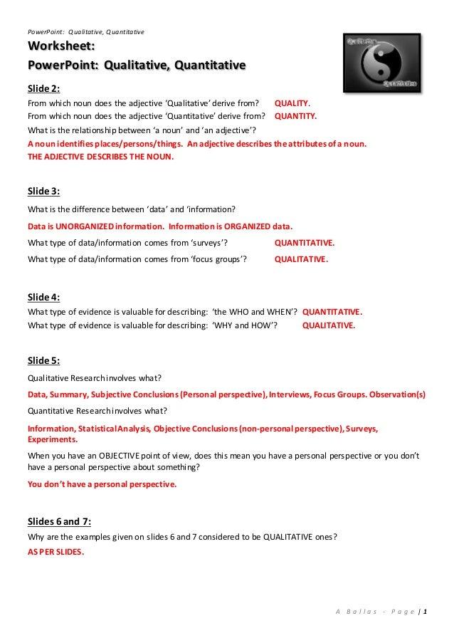 Worksheet Answers Qualitative Quantitative PowerPoint – Qualitative Vs Quantitative Worksheet