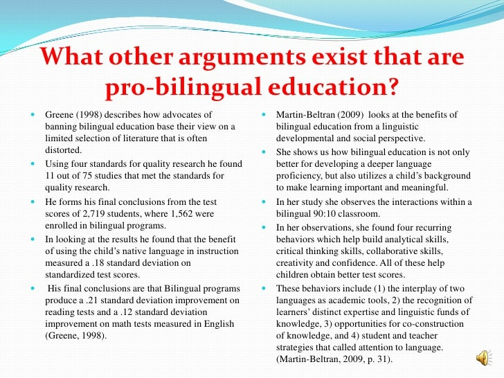 bilingual education 6 essay The essay on bilingual education: is it hel the pendulum is swinging again in favor of bilingualism for english speakers foreign language programs are starting earlier in elementary schools and bilingual education programs that promote bilingualism are becoming increasingly.
