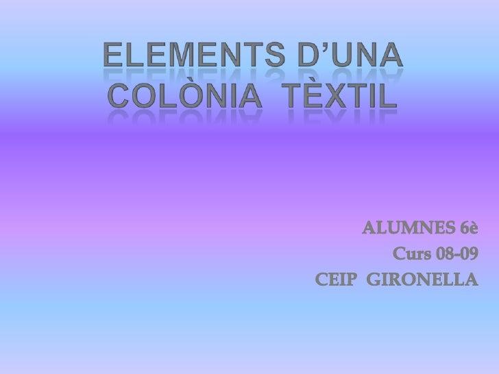 ELEMENTS D'UNA COLÒNIA  TÈXTIL<br />ALUMNES 6è<br />                                   Curs 08-09<br />                   ...