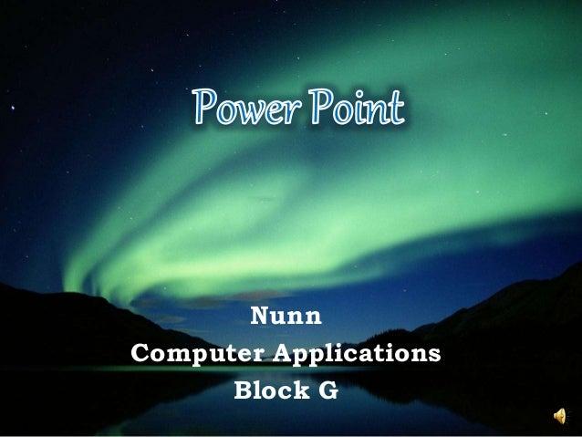 Nunn Computer Applications Block G