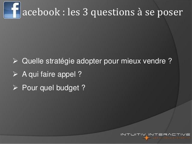 acebook : les 3 questions à se poser  Quelle stratégie adopter pour mieux vendre ?  A qui faire appel ?  Pour quel budg...