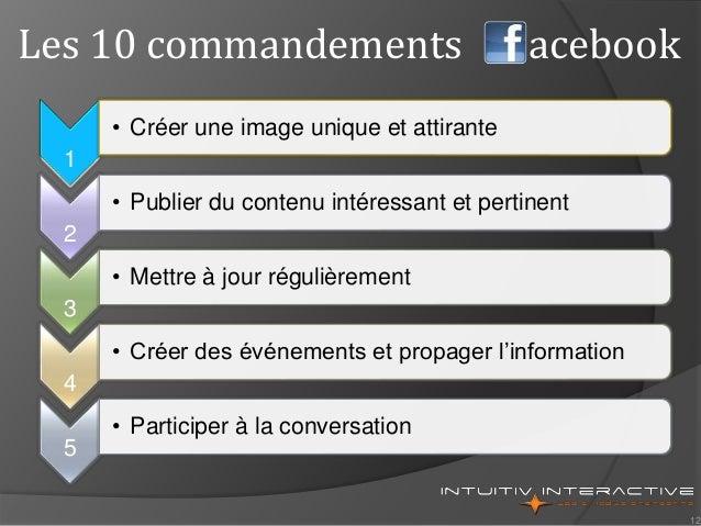 12 Les 10 commandements acebook 1 • Créer une image unique et attirante 2 • Publier du contenu intéressant et pertinent 3 ...