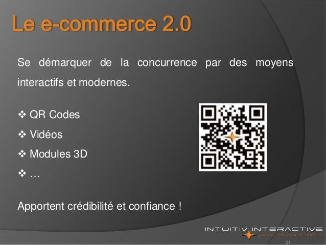 21 Se démarquer de la concurrence par des moyens interactifs et modernes.  QR Codes  Vidéos  Modules 3D  … Apportent c...