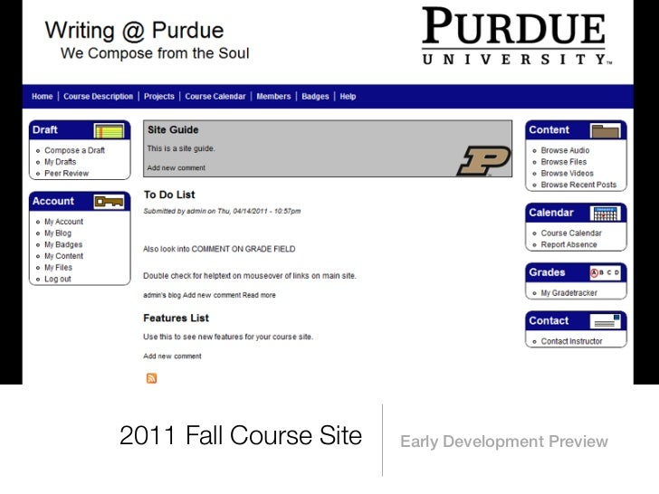 2011 Fall Course Site   Early Development Preview