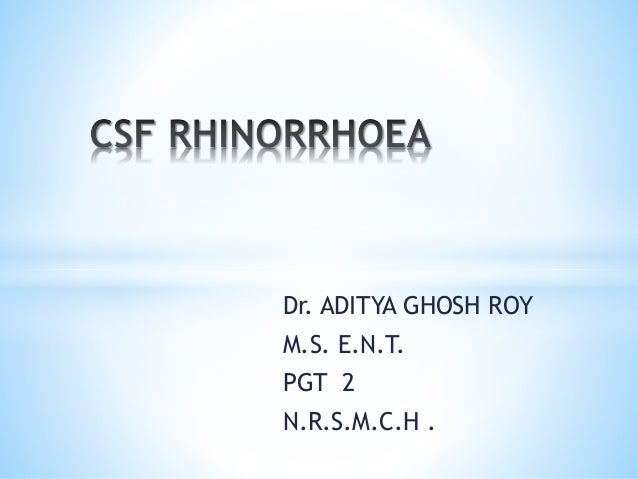 Dr. ADITYA GHOSH ROY M.S. E.N.T. PGT 2 N.R.S.M.C.H .