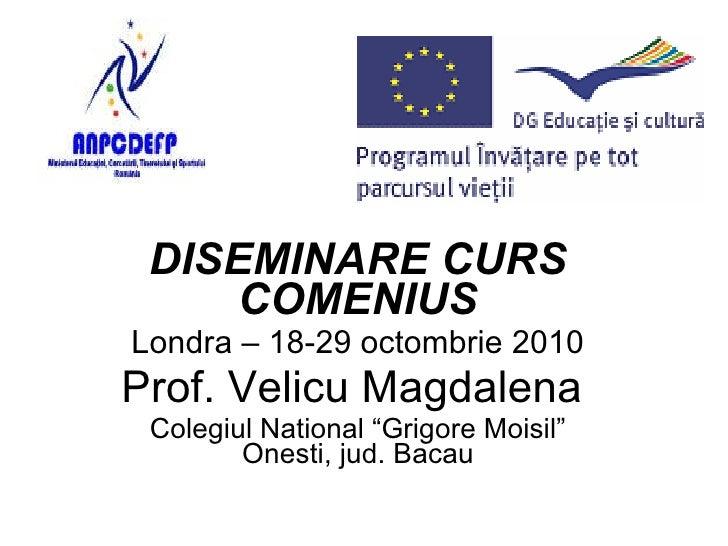 "DISEMINARE CURS COMENIUS Londra – 18-29 octombrie 2010 Prof. Velicu Magdalena  Colegiul National ""Grigore Moisil"" Onesti, ..."